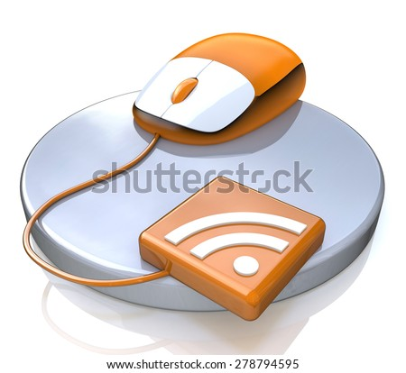 Orange computer mouse with RSS icon  - stock photo