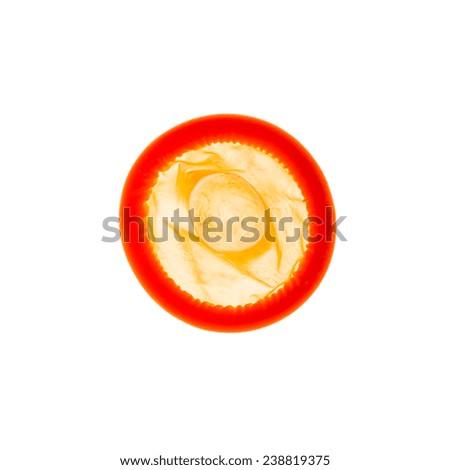 orange condom - stock photo