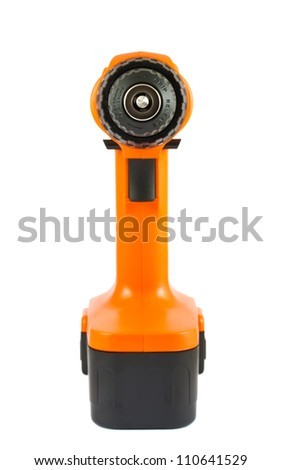 Orange cordless drill front view, isolated on white background