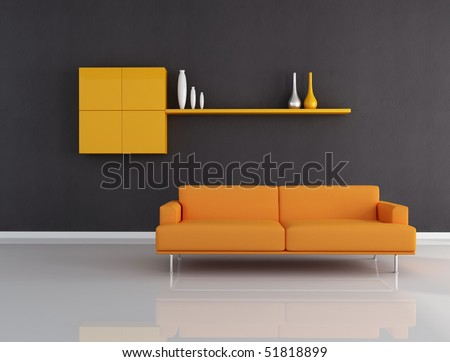 orange couch in minimalist black interior-rendering