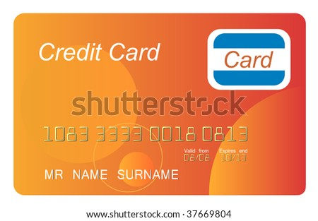 Orange credit card vector, highly detailed, jpg - stock photo