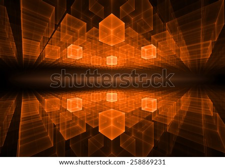 orange cubic geometrical perspective stretching off to infinity with ray of light, on black background, abstract illustration   - stock photo