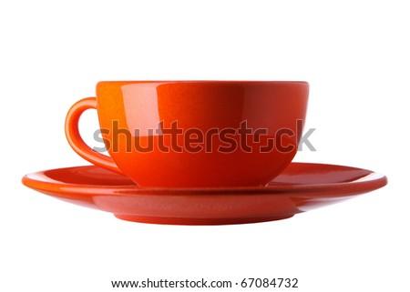 orange cup isolated on white background - stock photo