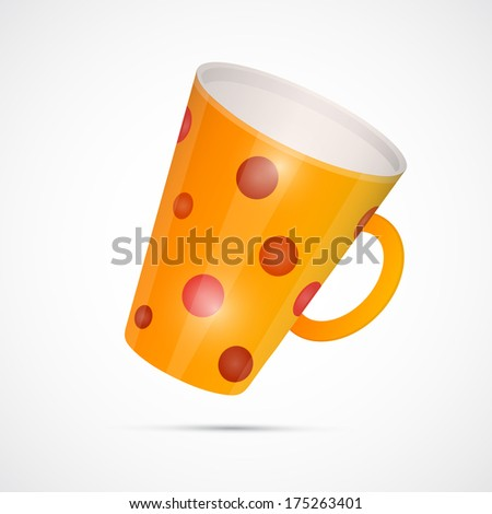 Orange Cup With Red Dots Isolated on White Background  - stock photo