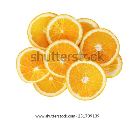 Orange, cut into slices, on a white background. Isolated with clipping path. Top view. - stock photo