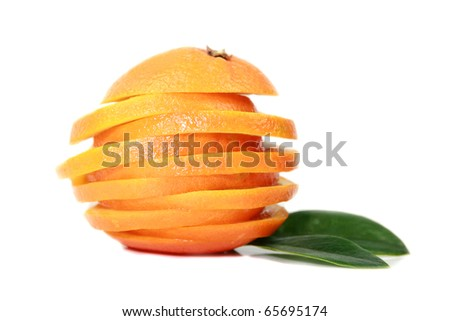 Orange cuted on slices - stock photo