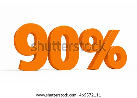 Orange 3d 90% percent text on white background for autumn sale campaigns. See whole set for other numbers.
