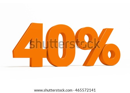 Orange 3d 40% percent text on white background for autumn sale campaigns. See whole set for other numbers.