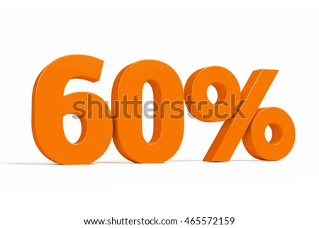 Orange 3d 60% percent text on white background for autumn sale campaigns. See whole set for other numbers.