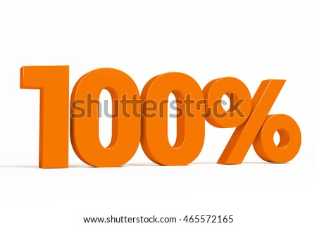 Orange 3d 100% percent text on white background for autumn sale campaigns. See whole set for other numbers.