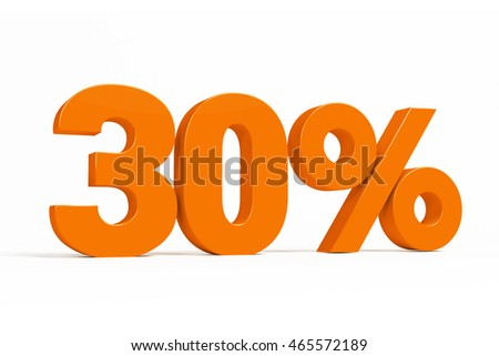 Orange 3d 30% percent text on white background for autumn sale campaigns. See whole set for other numbers.