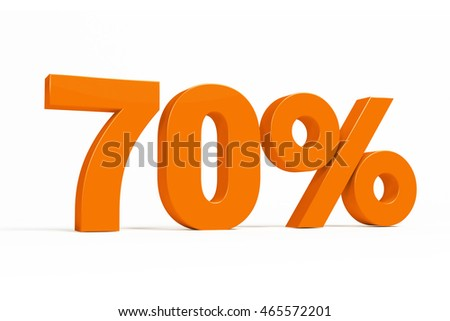 Orange 3d 70% percent text on white background for autumn sale campaigns. See whole set for other numbers.