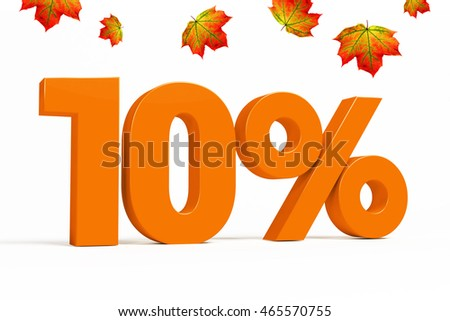 Orange 3d 10% percent text on white background with leaves for autumn sale campaigns. See whole set for other numbers.