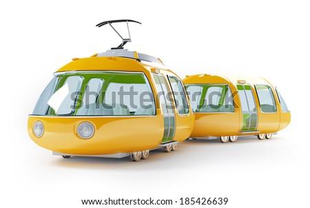 Orange 3d tram in cartoon childish style - stock photo