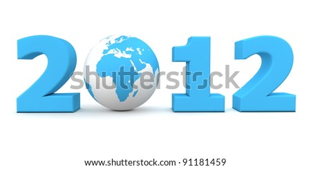 orange date 2012 with a 3D globe replacing number 0 - stock photo