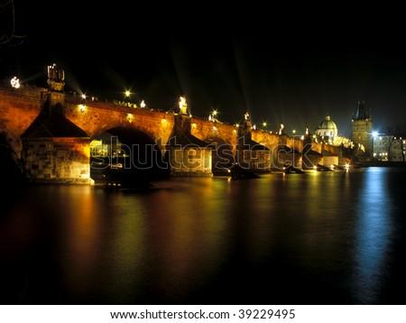 Orange Day (2.2. 2002), Charles bridge, Prague, Czech Republic - stock photo