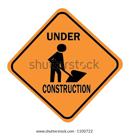 Orange Diamond Under Construction Sign with a work symbol displayed isolated on a white background - stock photo