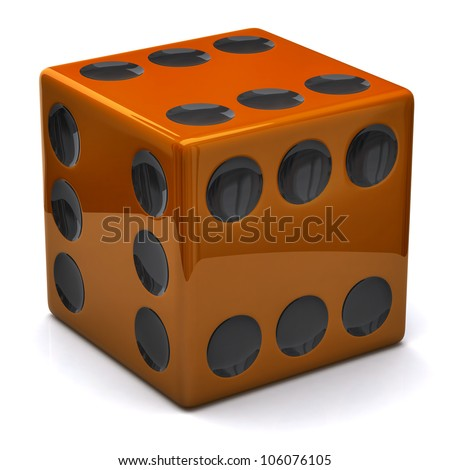 Orange dice with six on all sides