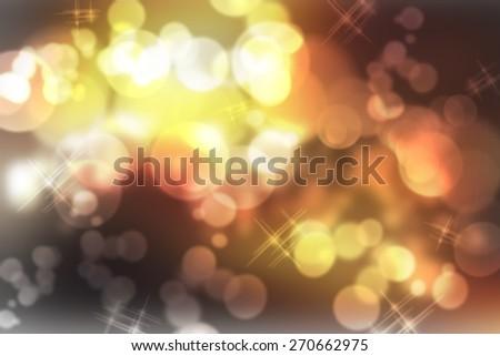 orange digitally generated image of colorful black background with wonderful twinkling bokeh - stock photo