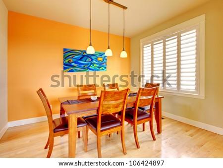 Orange Dining Room orange dining room wood table hardwood stock photo 106424897