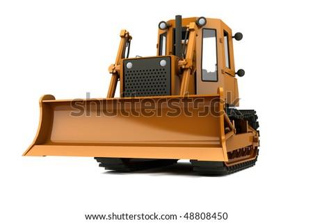 Orange dirty bulldozer isolated on whiite background - stock photo