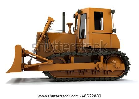 Orange dirty bulldozer isolated on white background - stock photo