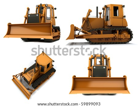 Orange dirty bulldozer isolated on white background