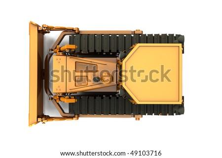 Orange dirty bulldozer isolated on white background. Top view - stock photo
