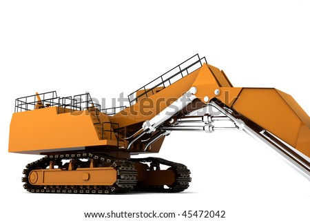 Orange dirty digger isolated on white background