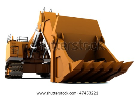 Orange dirty digger isolated on white background - stock photo