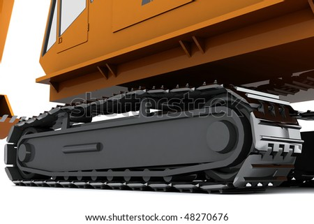 Orange dirty digger isolated on white background. Closeup view