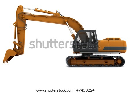 Orange dirty digger isolated on white background. Side view - stock photo
