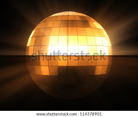 Orange disco ball background - stock photo