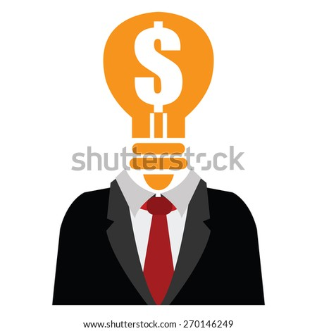 Orange Dollar Sign Light Bulb Head Businessman Isolated on White Background - stock photo