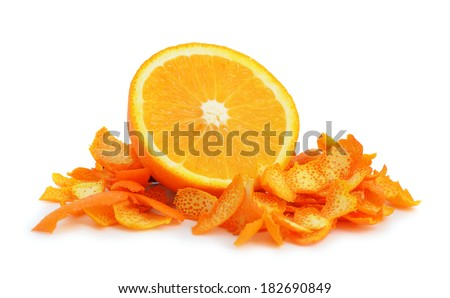 Orange dried peel. Isolated on white background. - stock photo