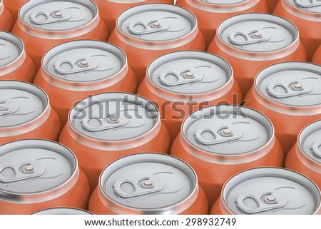 orange drink metallic cans, top view isolated on white background