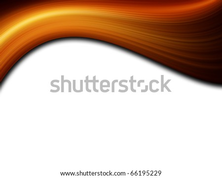 Orange dynamic wave on white background, Space to insert text or design - stock photo