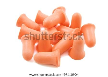 Orange earplugs isolated on a white background - stock photo
