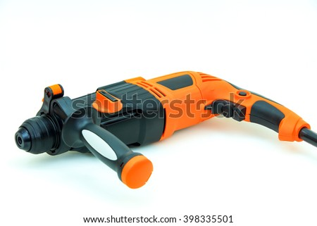 orange electric drill with handle isolated on white background - stock photo