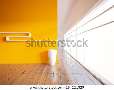 orange empty interior with a large window - stock photo