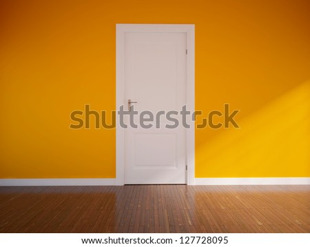 orange empty interior with a white door