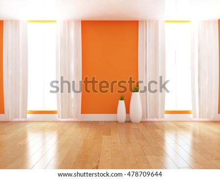 Orange Empty Interior With White Curtains And Vases. 3d Illustration