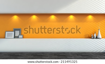 orange empty interior with white vases - stock photo