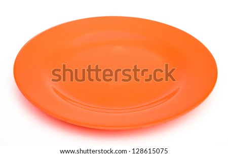 orange empty plate on white with clipping path - stock photo