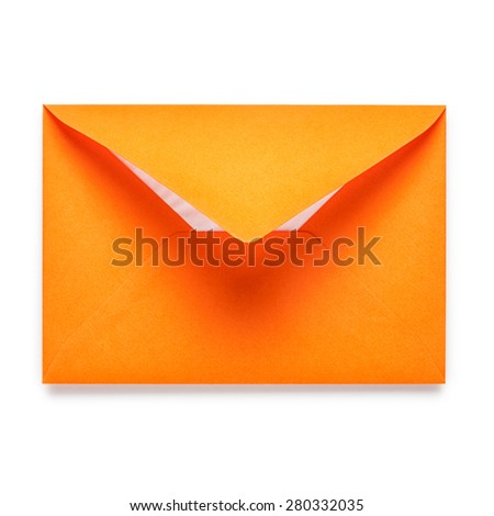 Orange envelope isolated on white background. Object with clipping path - stock photo