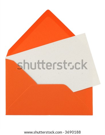 orange envelope with a blank card isolated on white - stock photo