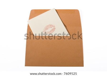 orange envelope with letter and lipstick kiss