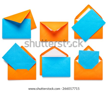 Orange envelopes with blue card collection isolated on white background - stock photo