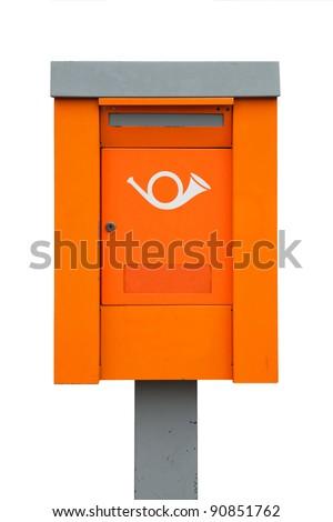 Orange European metal post box - stock photo