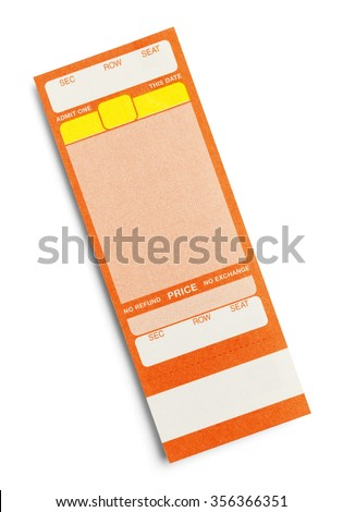 Orange Event Ticket With Copy Space Isolated on a White Background. - stock photo